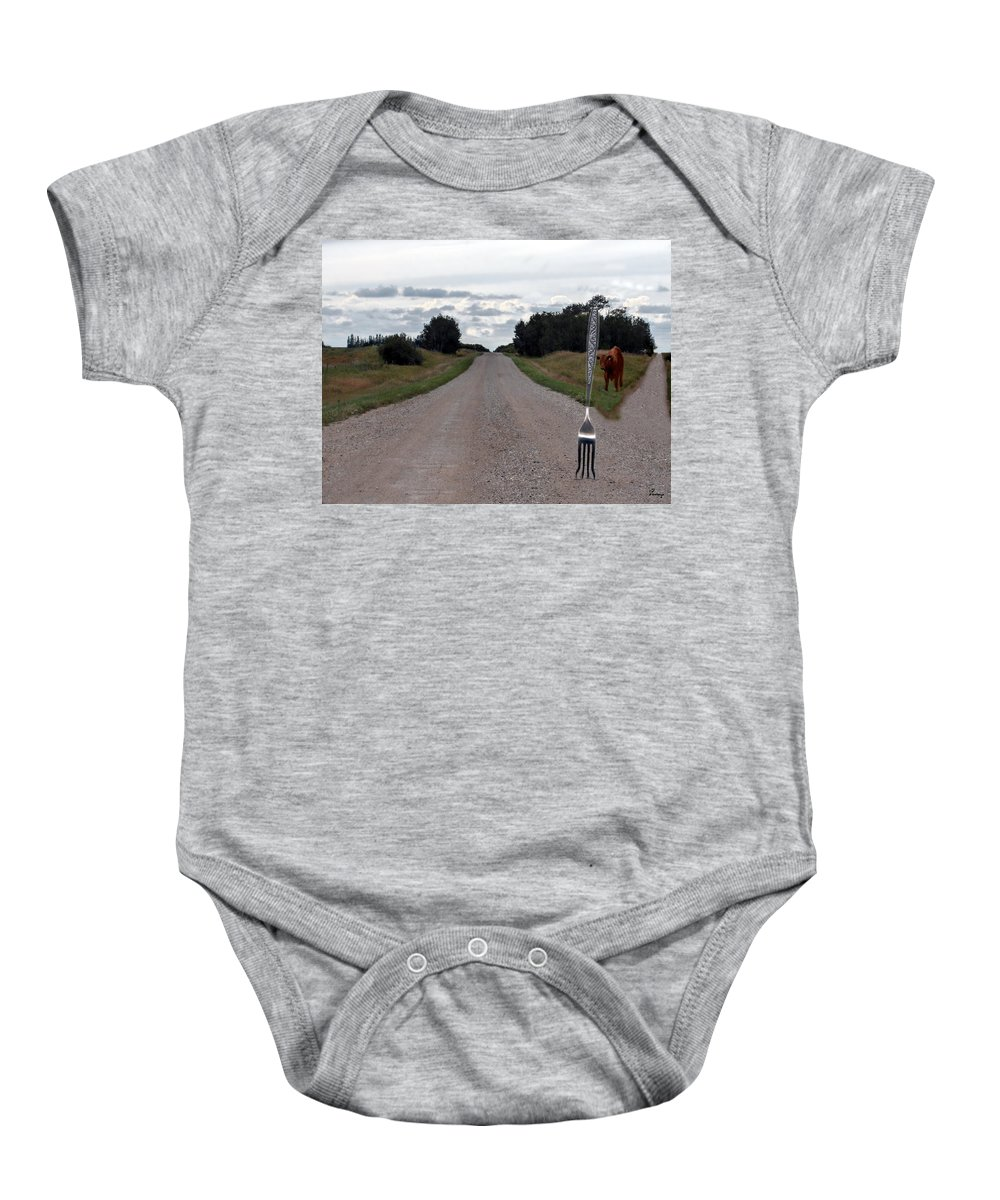 Cow Calf Fork Road Pasture Land Trees Animal Fun Baby Onesie featuring the photograph Fork In The Road by Andrea Lawrence