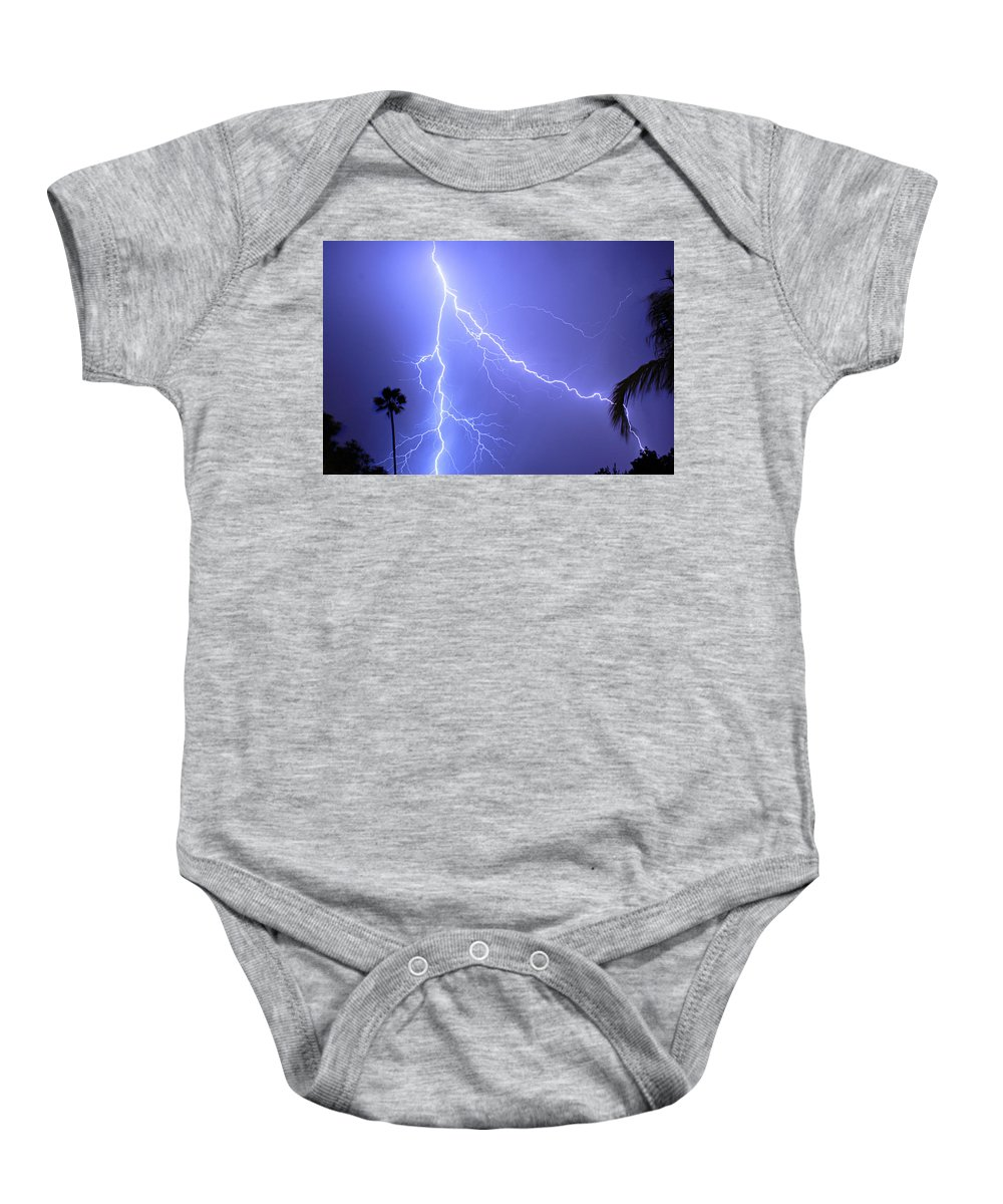 Lightning Baby Onesie featuring the photograph Fork In The Sky by James BO Insogna