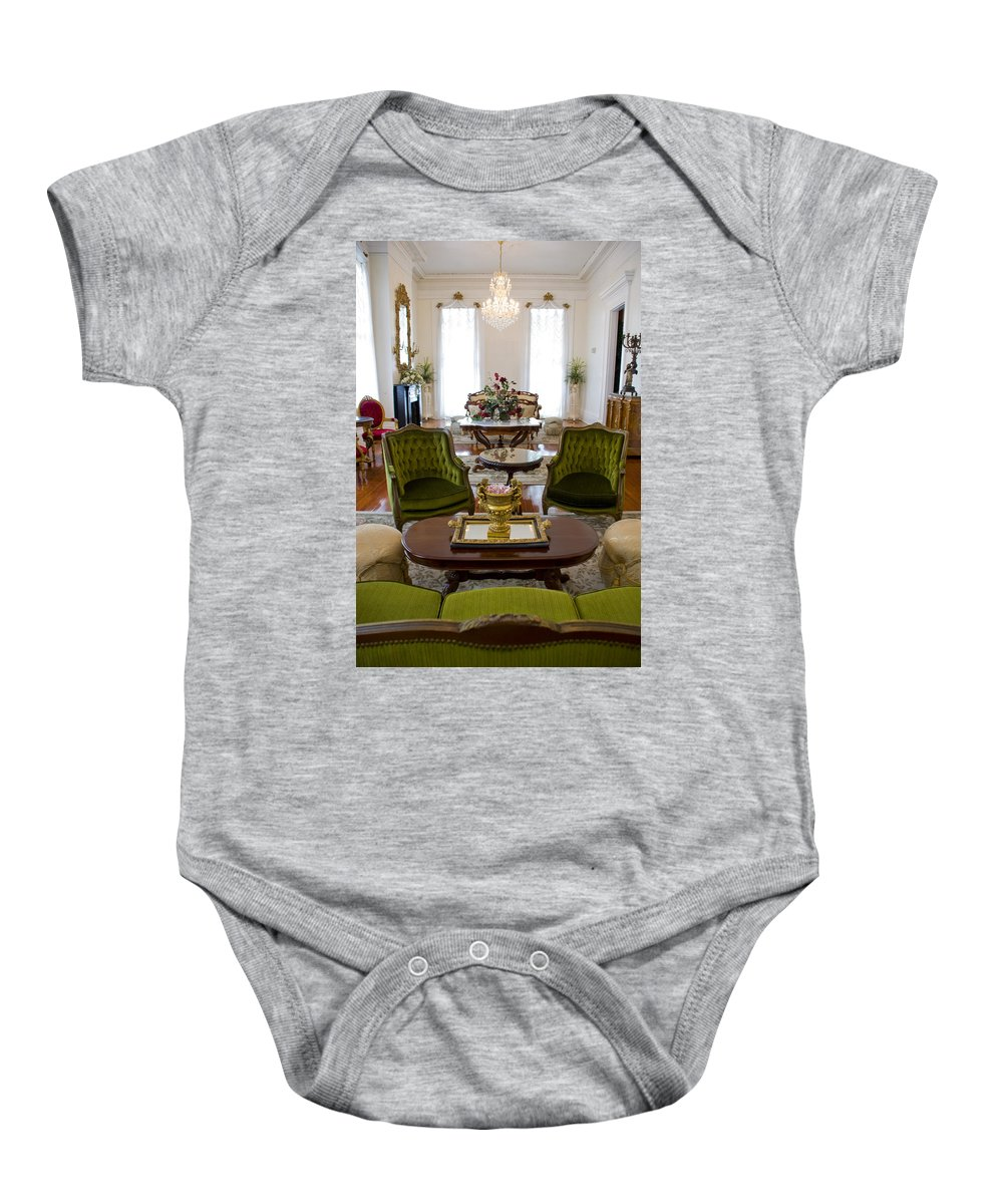 Mansion Baby Onesie featuring the photograph Formal Dining Room by Jennifer Kelly