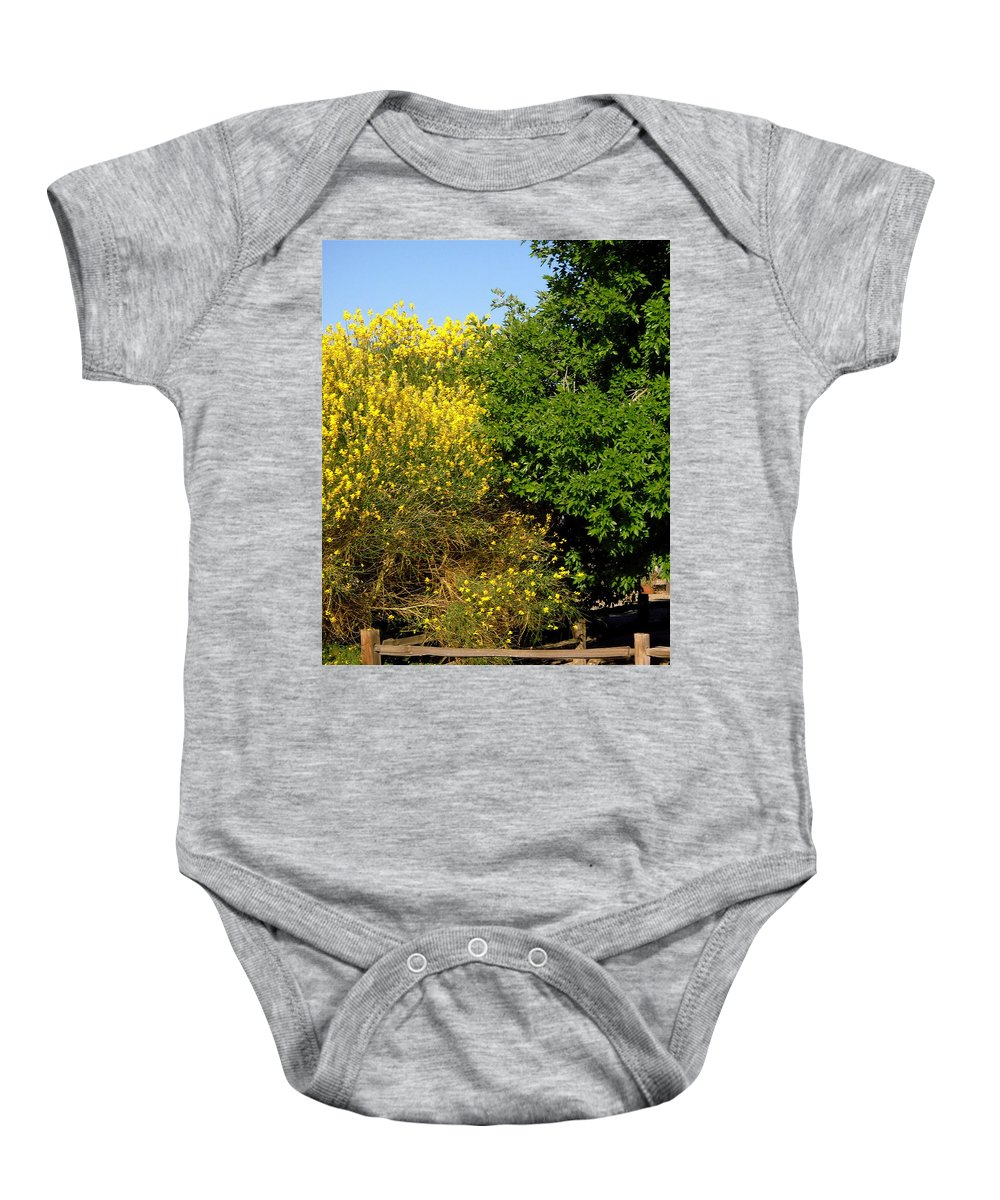 Forsythia Baby Onesie featuring the photograph Forsythia by Stephanie Moore