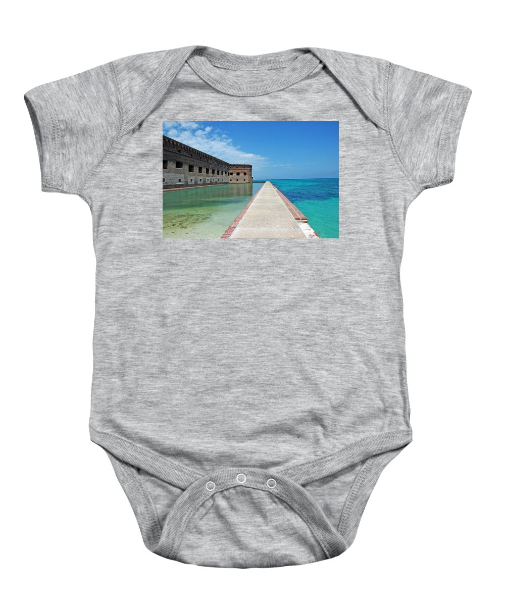 Fort Jefferson Baby Onesie featuring the photograph Fort Jefferson Dry Tortugas by Susanne Van Hulst