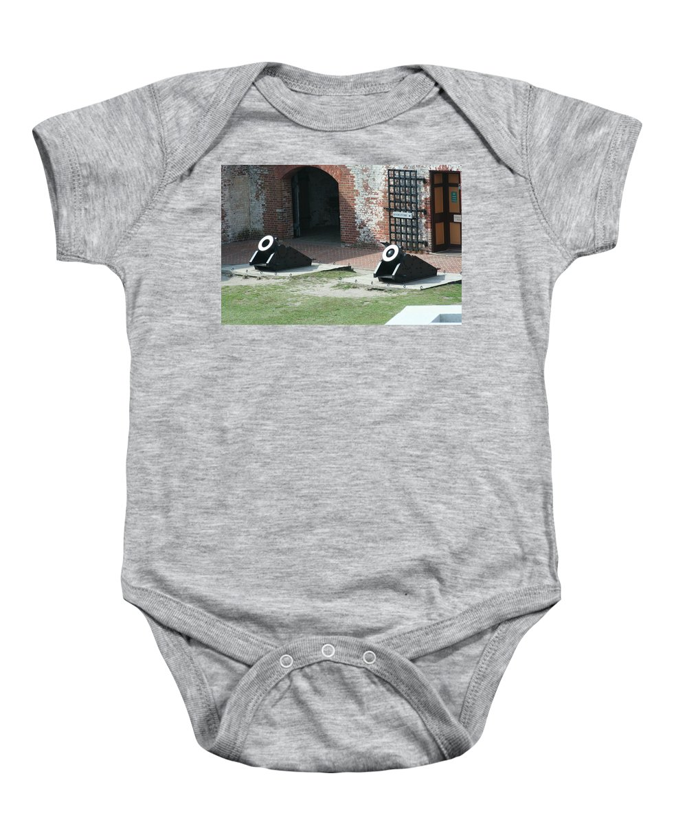 Fort Morgan Baby Onesie featuring the mixed media Fort Morgan Mortars by Tommy Anderson