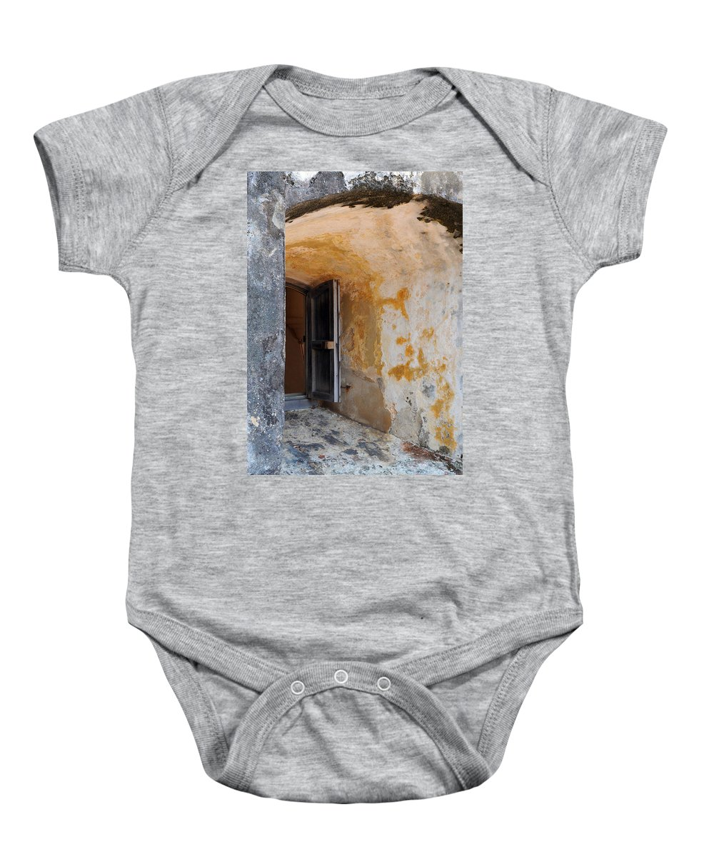 Fortress Baby Onesie featuring the photograph Fortress Window by Stephen Anderson
