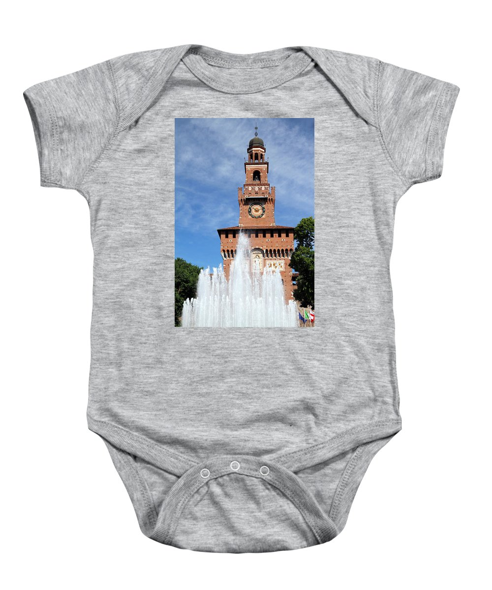 Ancient Baby Onesie featuring the photograph Fountain And Castle by Valentino Visentini