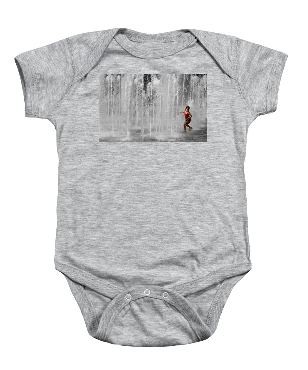 Water Baby Onesie featuring the photograph Fountain Play One by Perry Webster