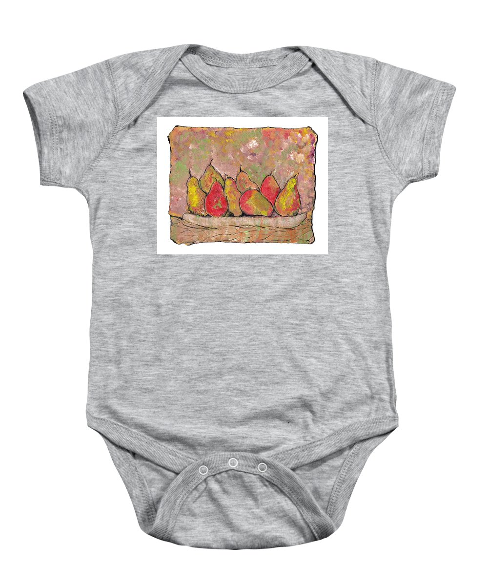 Pears Baby Onesie featuring the painting Four Pair Of Pears by Wayne Potrafka