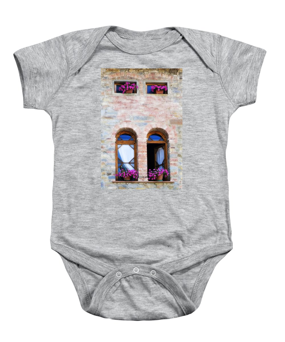 Architecture Baby Onesie featuring the photograph Four Windows by Marilyn Hunt