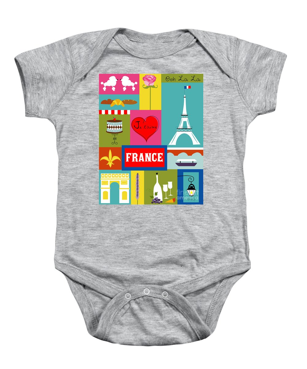 Paris Baby Onesie featuring the digital art France Vertical Scene - Collage by Karen Young