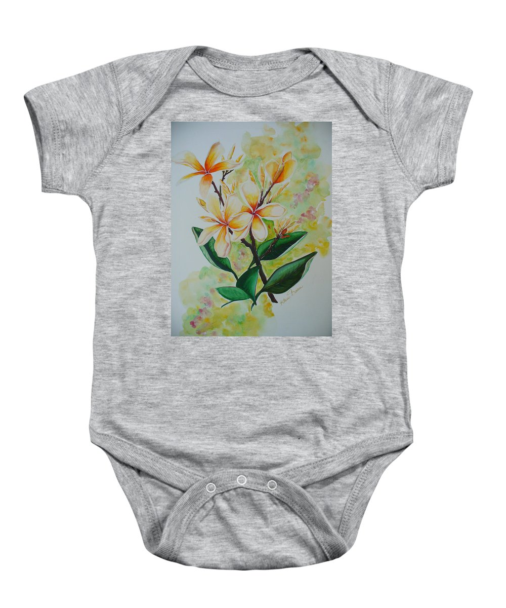 Baby Onesie featuring the painting Frangipangi by Karin Dawn Kelshall- Best
