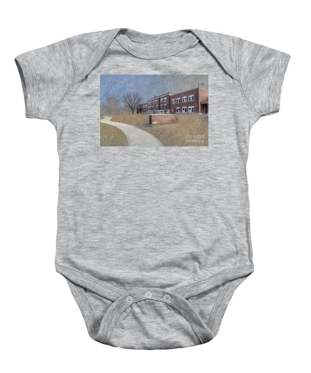Travel Baby Onesie featuring the photograph Fred Douglass School by Larry Braun