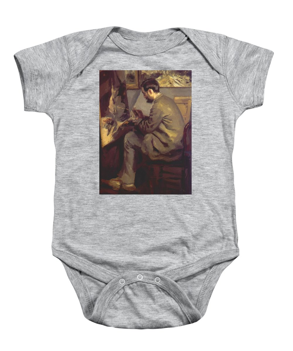 Frederic Baby Onesie featuring the painting Frederic Bazille Painting The Heron 1867 by Renoir PierreAuguste