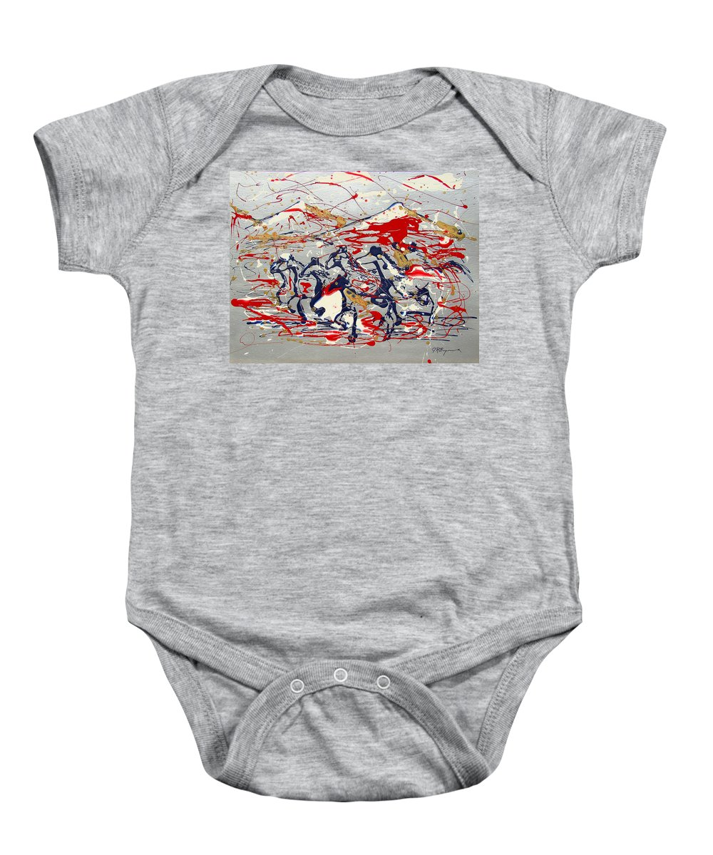 Wild Horses Baby Onesie featuring the painting Freedom On The Open Range by J R Seymour