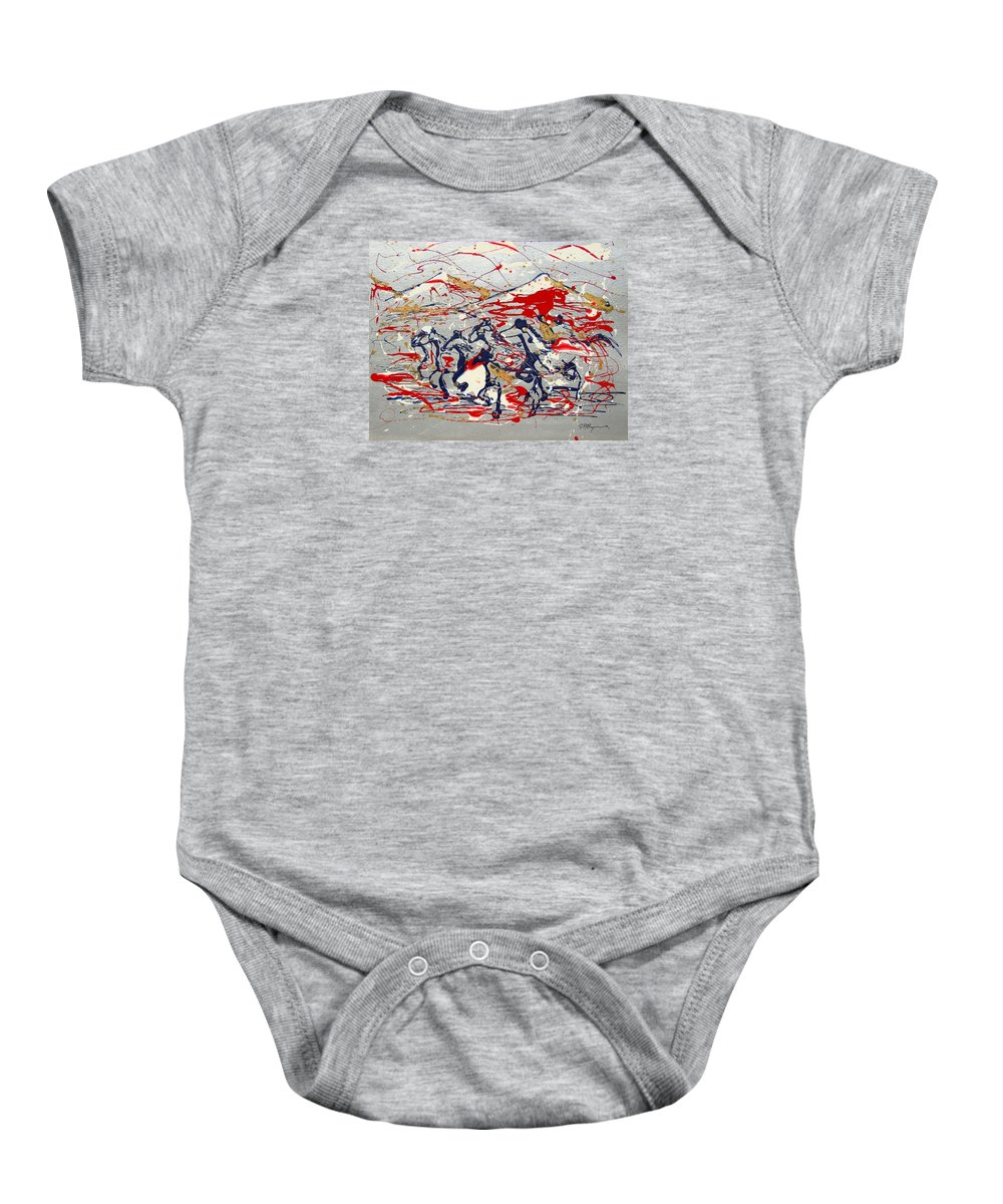 Impressionist Painting Baby Onesie featuring the painting Freedom On The Range by J R Seymour