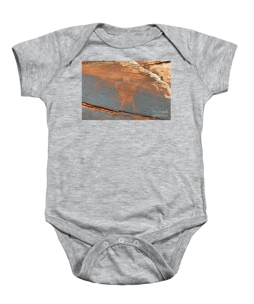 Petroglyph Baby Onesie featuring the photograph Fremont Man by David Lee Thompson