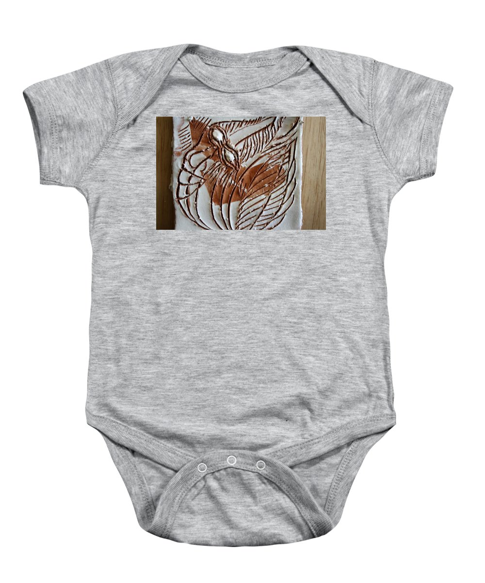 Jesus Baby Onesie featuring the ceramic art French - Tile by Gloria Ssali