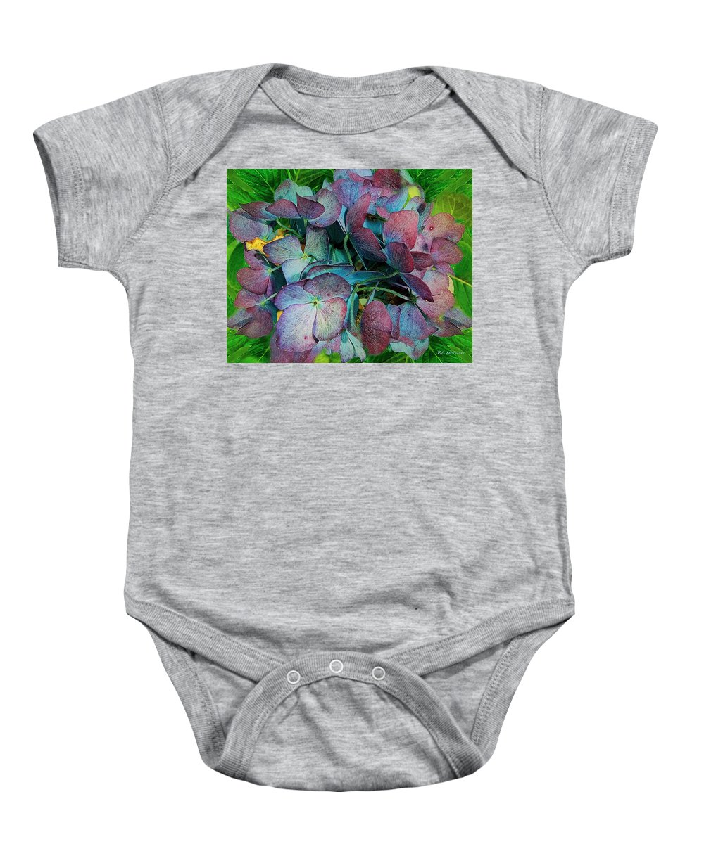 Hydrangea Baby Onesie featuring the painting French Hydrangea Rainbow by RC DeWinter