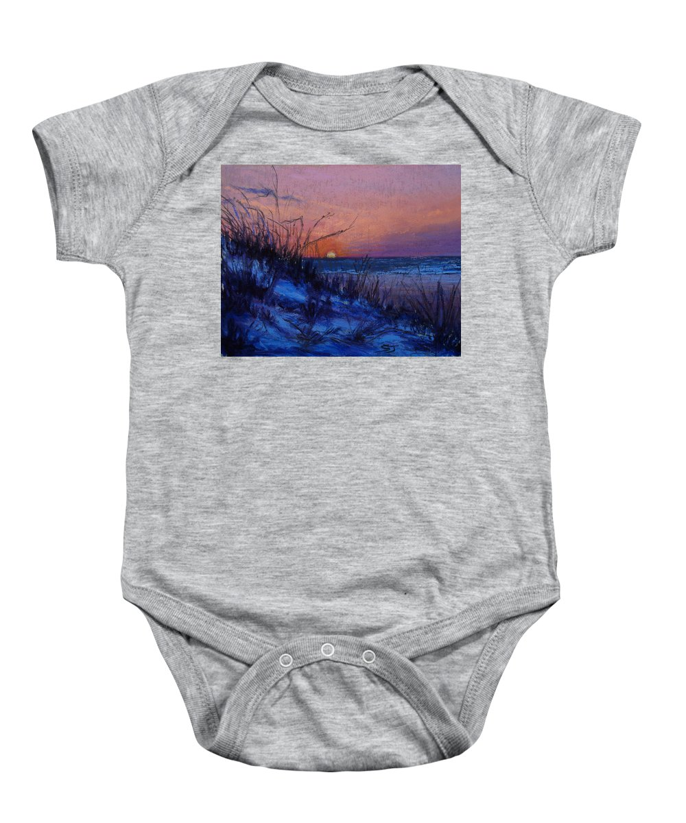 Landscape Baby Onesie featuring the pastel Frenchy's Sunset by Susan Jenkins