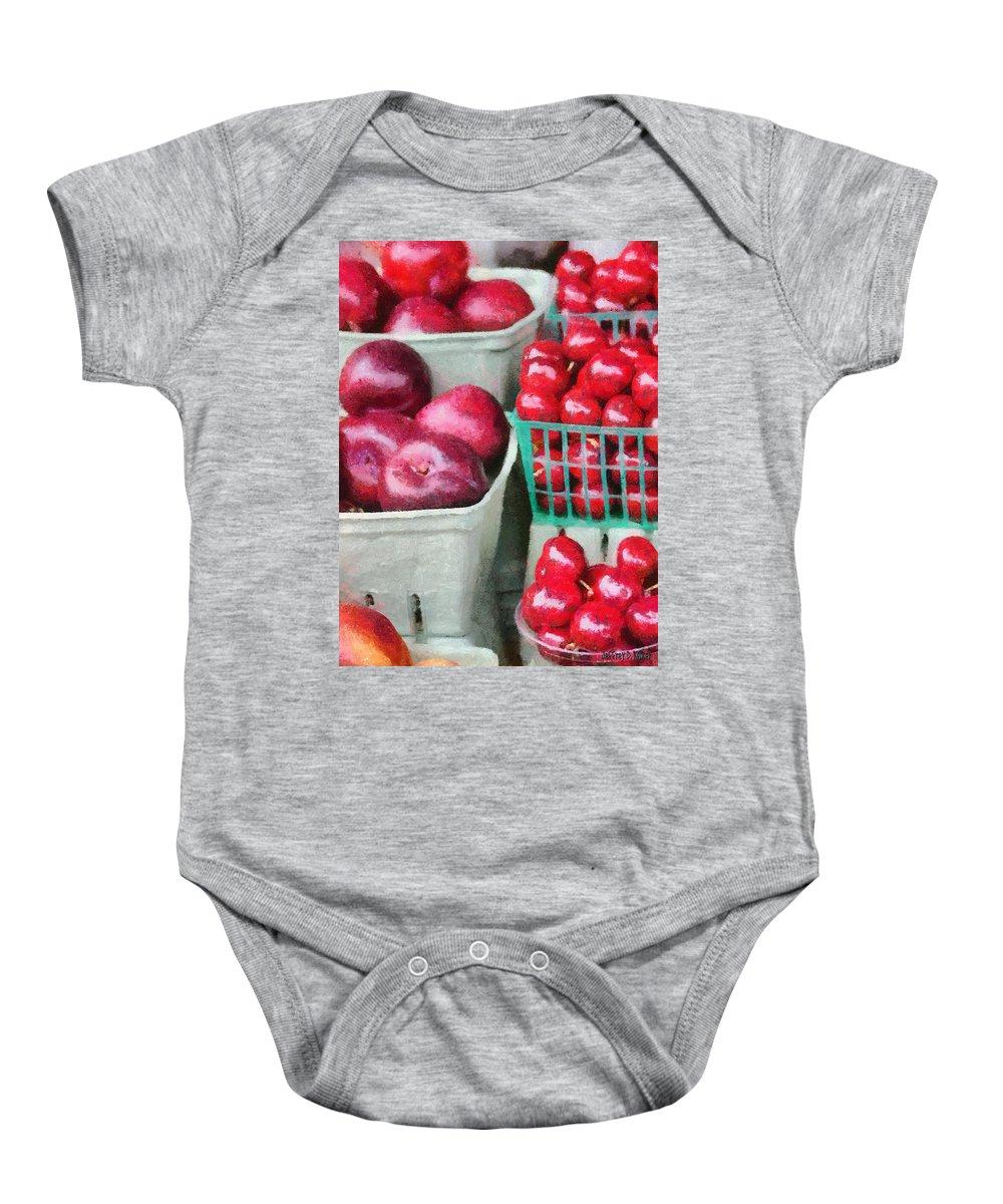 Apple Baby Onesie featuring the painting Fresh Market Fruit by Jeffrey Kolker