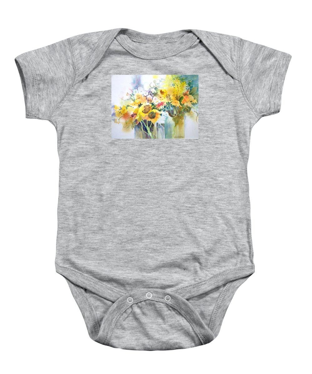 Contemporary;watercolor;sunflowers;daisies;floral; Baby Onesie featuring the painting Fresh-picked by Lois Mountz