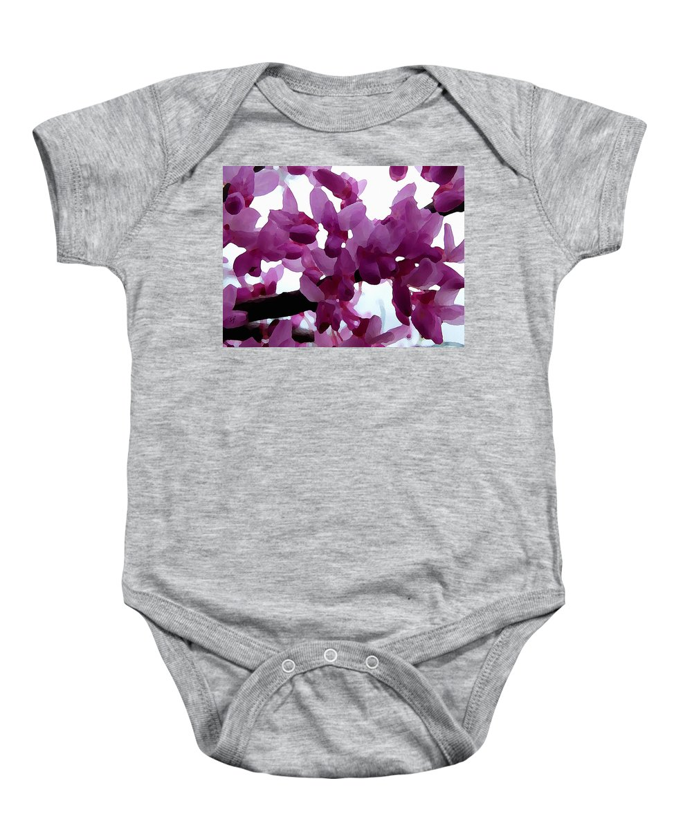 Botanical Baby Onesie featuring the digital art Fresh Redbud Blooms by Shelli Fitzpatrick