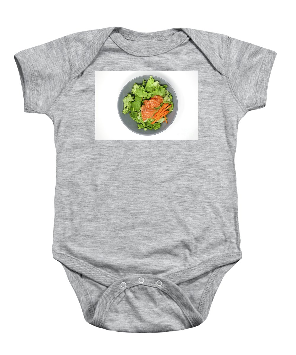 Salmon Baby Onesie featuring the photograph Fresh Seafood Salad With Smoked Salmon by Virginie