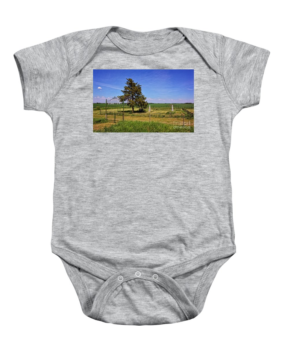South Dakota Baby Onesie featuring the photograph Frieling Cemetery by M Dale