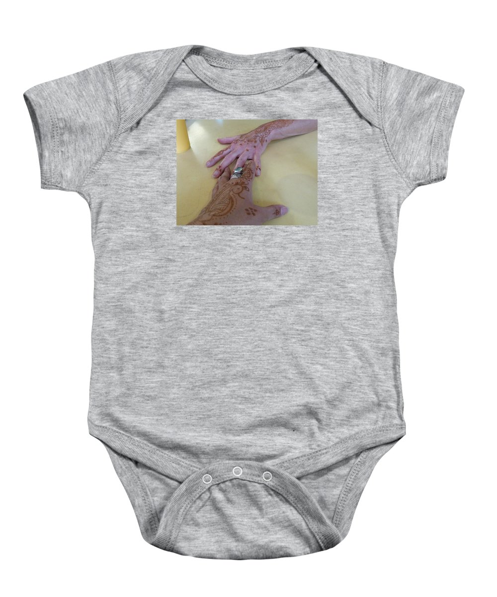 Hands Baby Onesie featuring the photograph Friends In Singapore by Jenni Trent Hughes