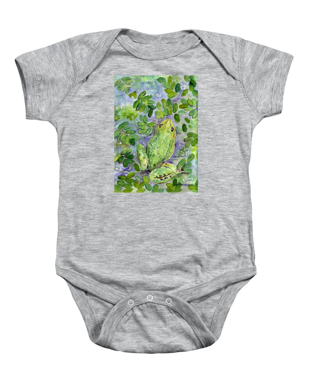 Frog Baby Onesie featuring the painting Frog In The Pond by Christine Burn