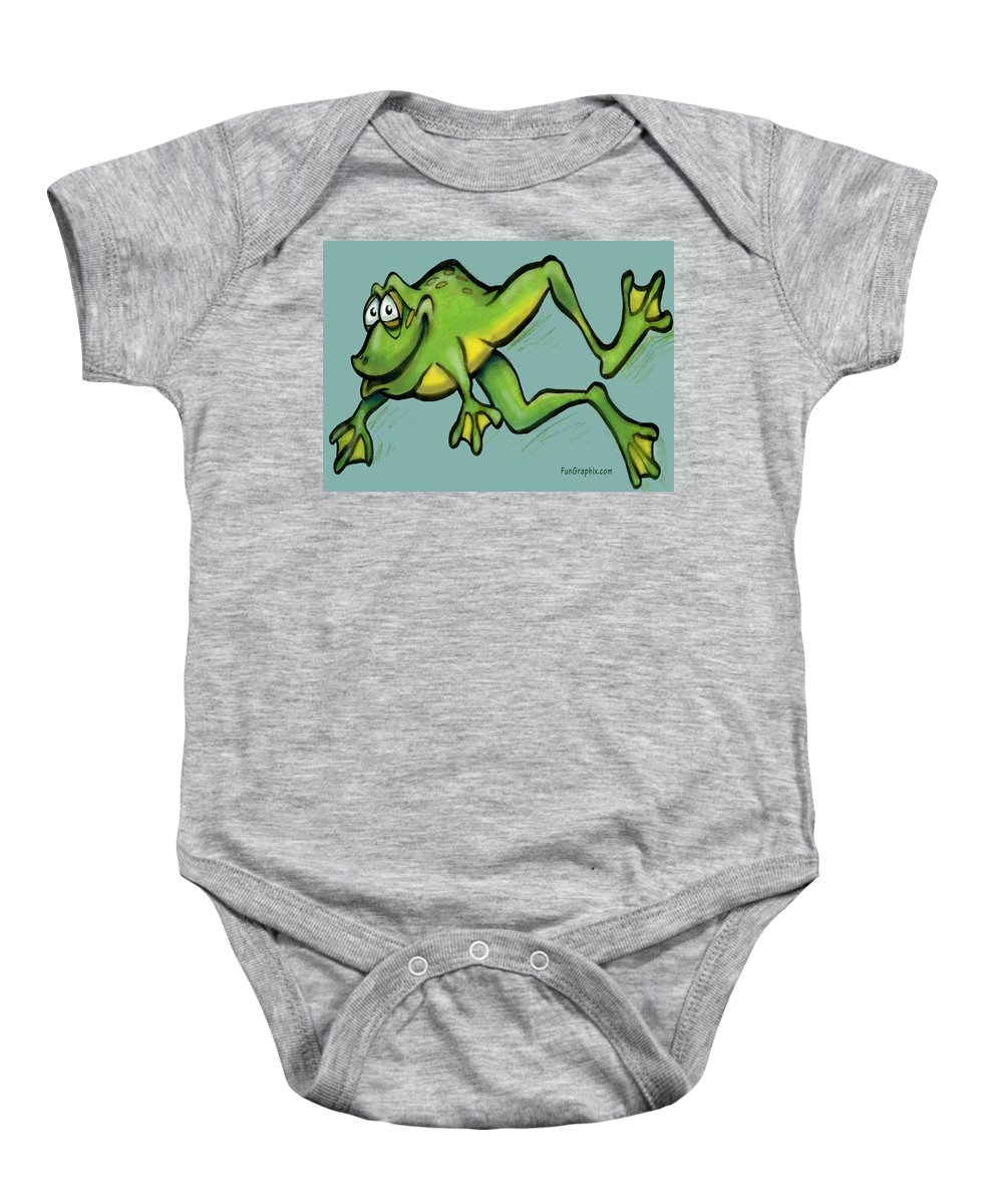 Frog Baby Onesie featuring the greeting card Frog by Kevin Middleton