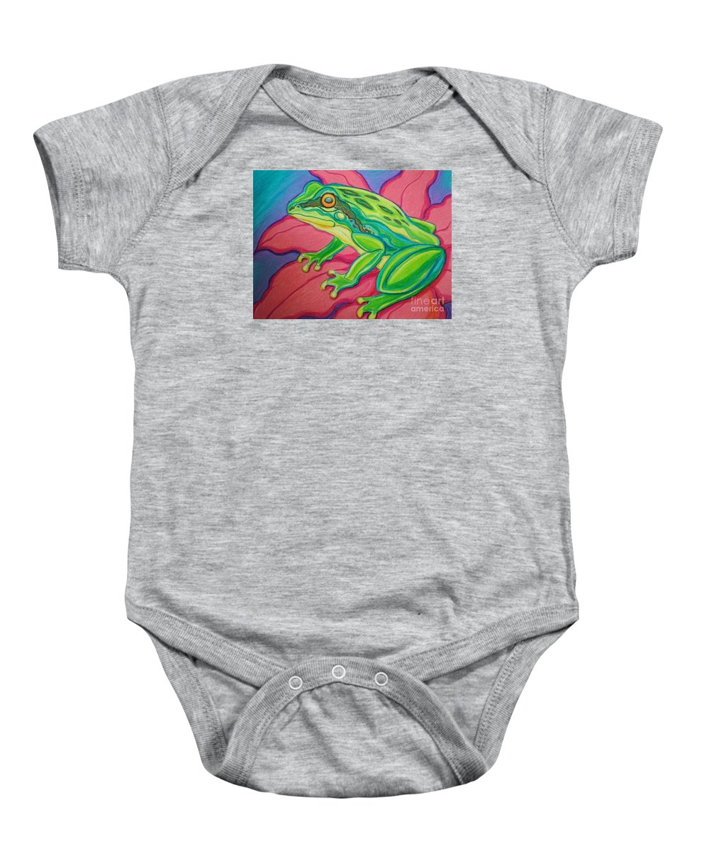 Frog Baby Onesie featuring the drawing Frog On Flower by Nick Gustafson