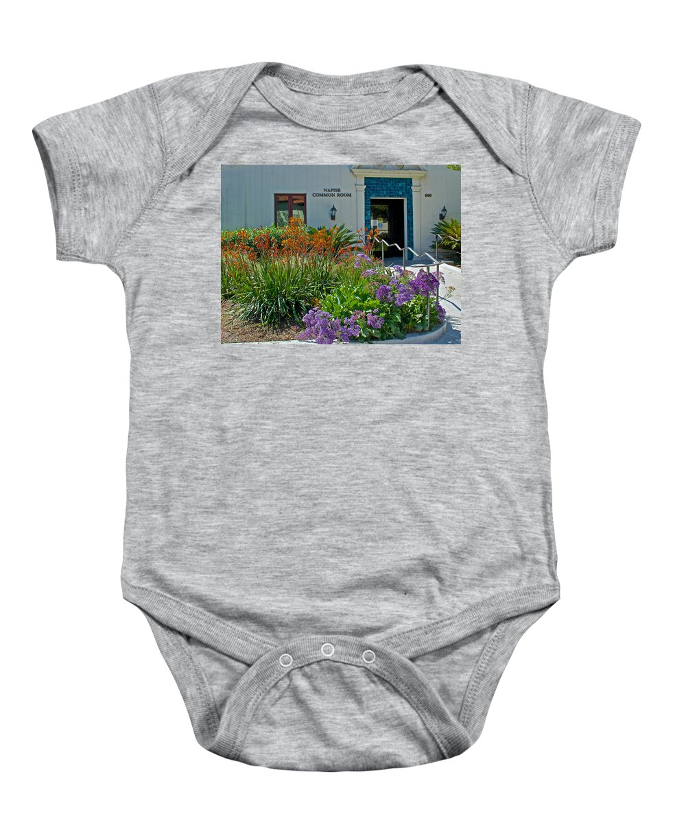 Flowers In Front Of Napier Common Room At Pilgrim Place In Claremont Baby Onesie featuring the photograph Flowers In Front Of Napier Common Room At Pilgrim Place In Claremont-california by Ruth Hager