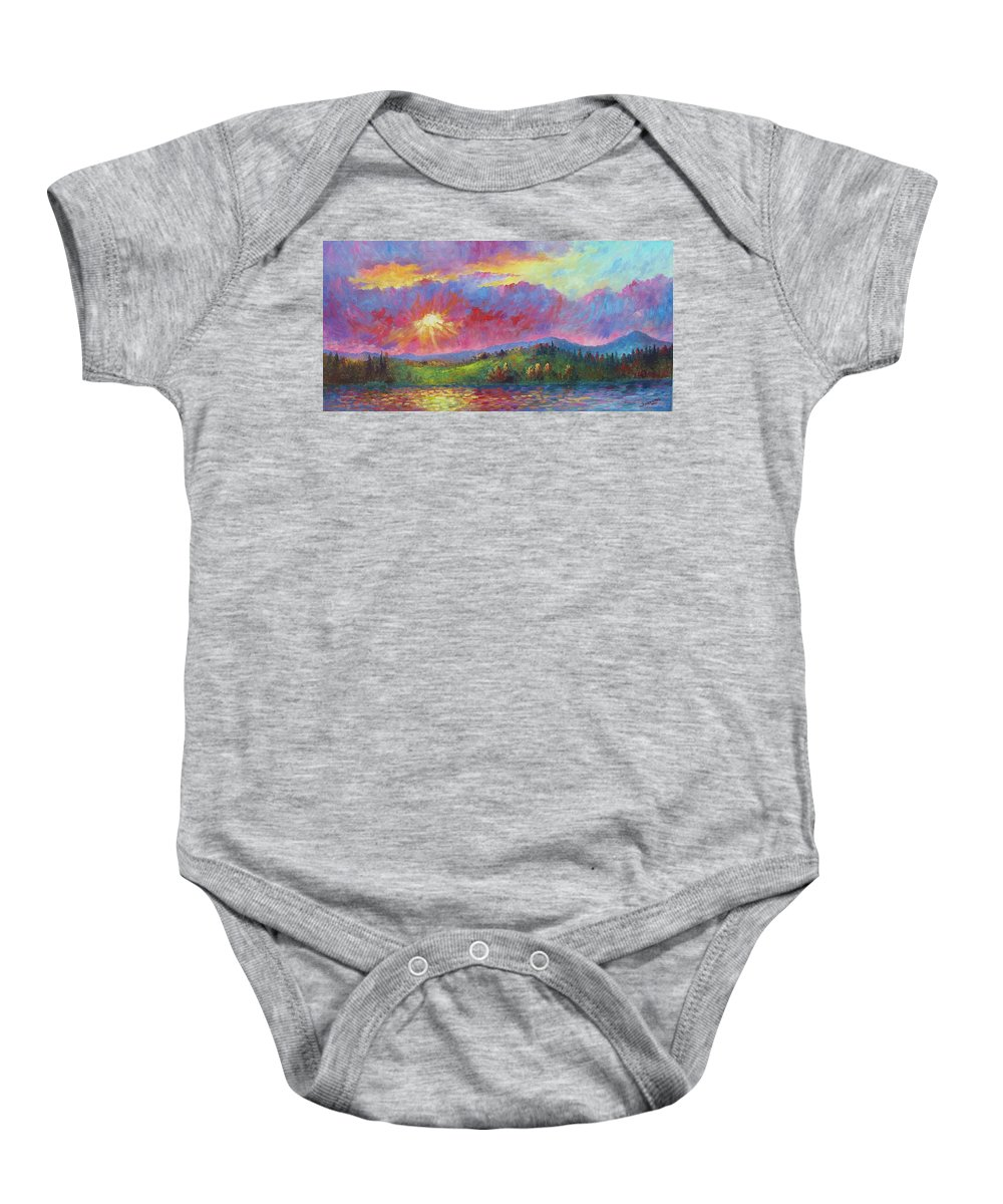 Landscape Baby Onesie featuring the painting Front Range Sunset by David G Paul
