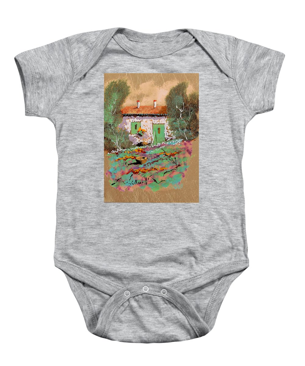 Jewelry Baby Onesie featuring the painting Frontale by Guido Borelli