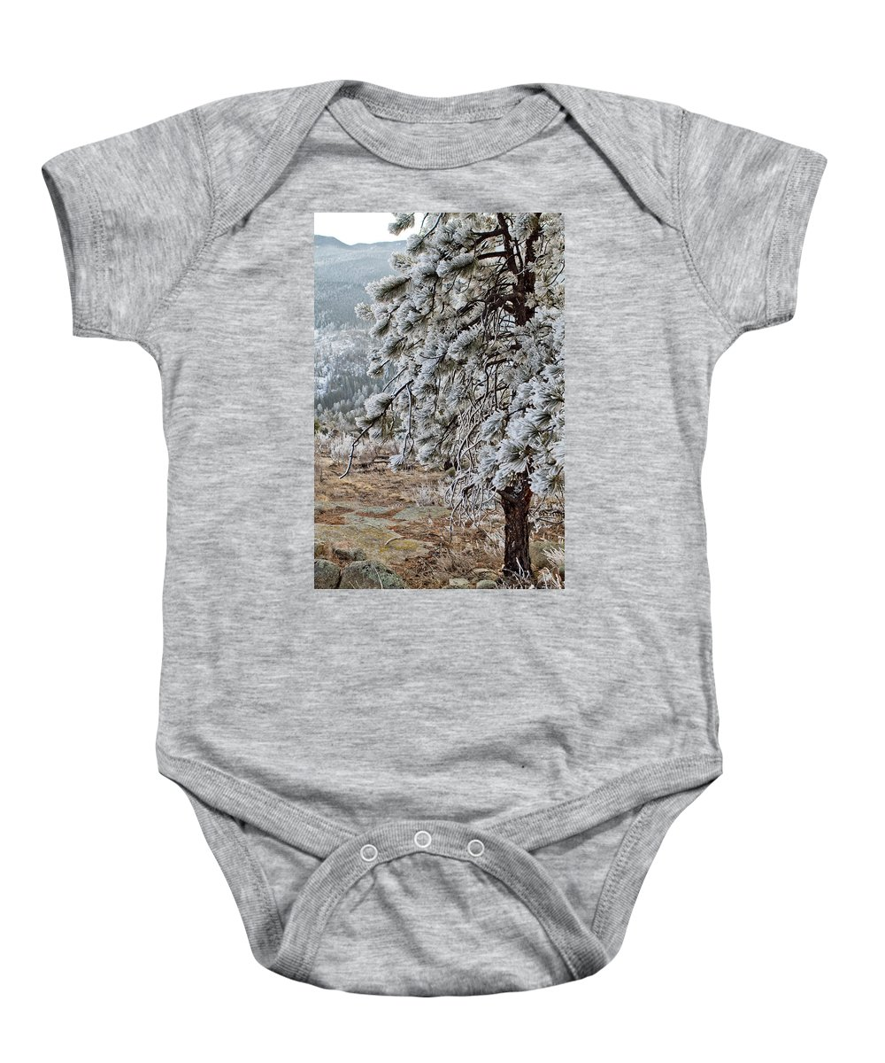 Colorado Baby Onesie featuring the photograph Frost-covered Pine by Sandy Swanson