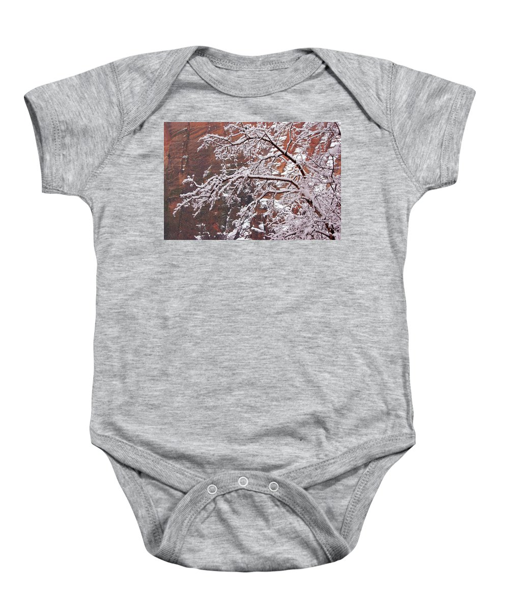 Zion Baby Onesie featuring the photograph Frosted Branches by Daniel Woodrum