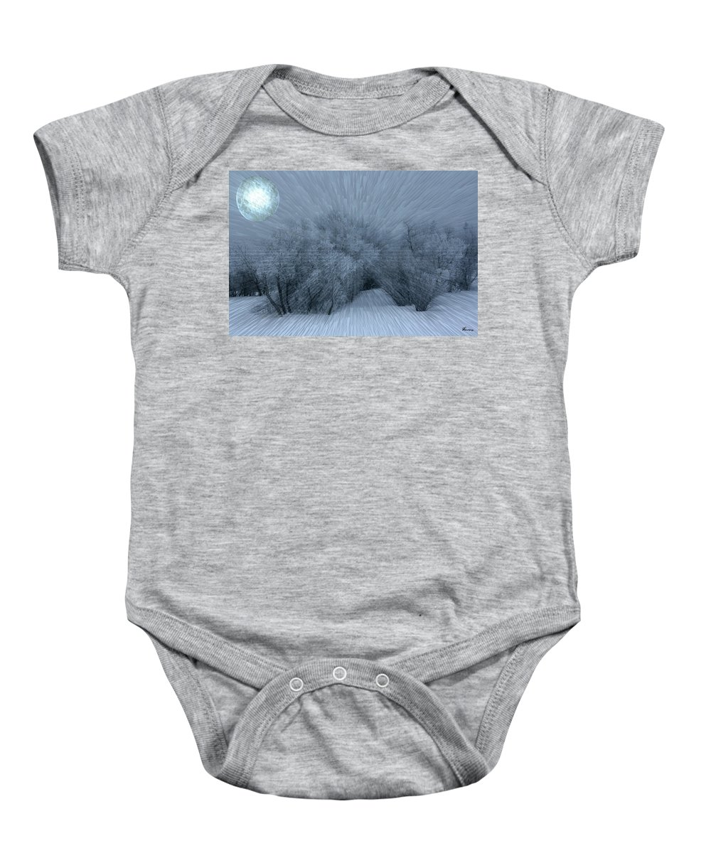 Moon Hoar Frost Trees Sky Winter Snow Cold Fog Lunar Baby Onesie featuring the photograph Frosted Moon by Andrea Lawrence