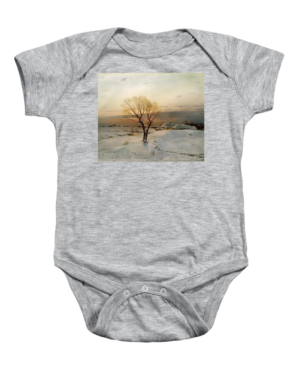 Painting Baby Onesie featuring the painting Frosty Morning by Mountain Dreams
