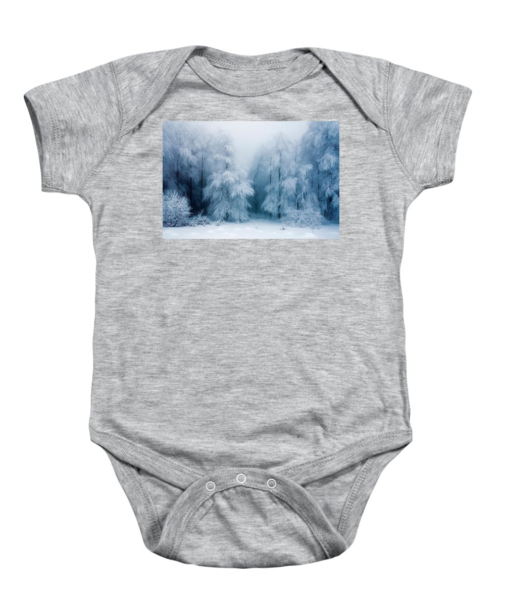 Mountain Baby Onesie featuring the photograph Frozen Forest by Evgeni Dinev
