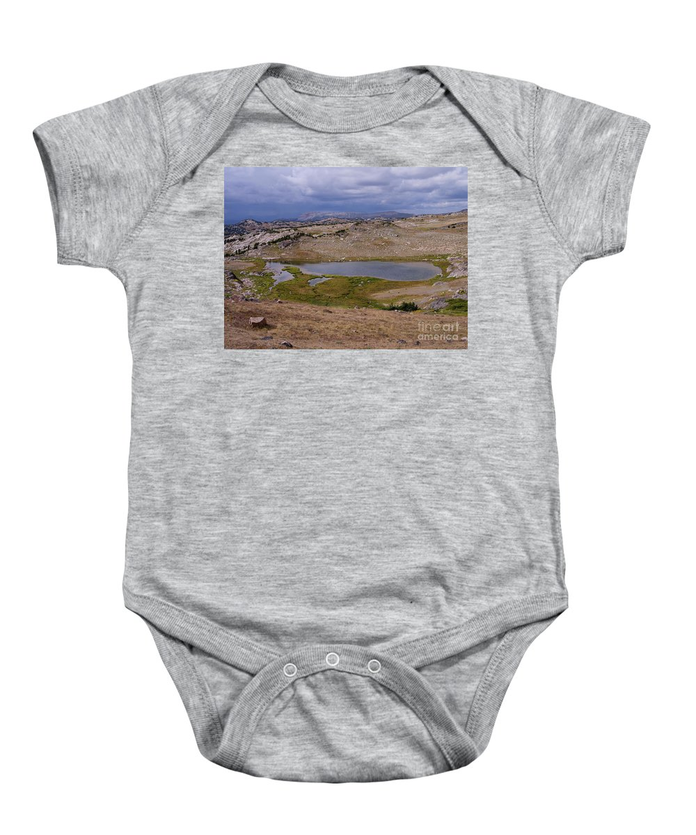Montana Baby Onesie featuring the photograph Frozen Lake 2 by Tracy Knauer