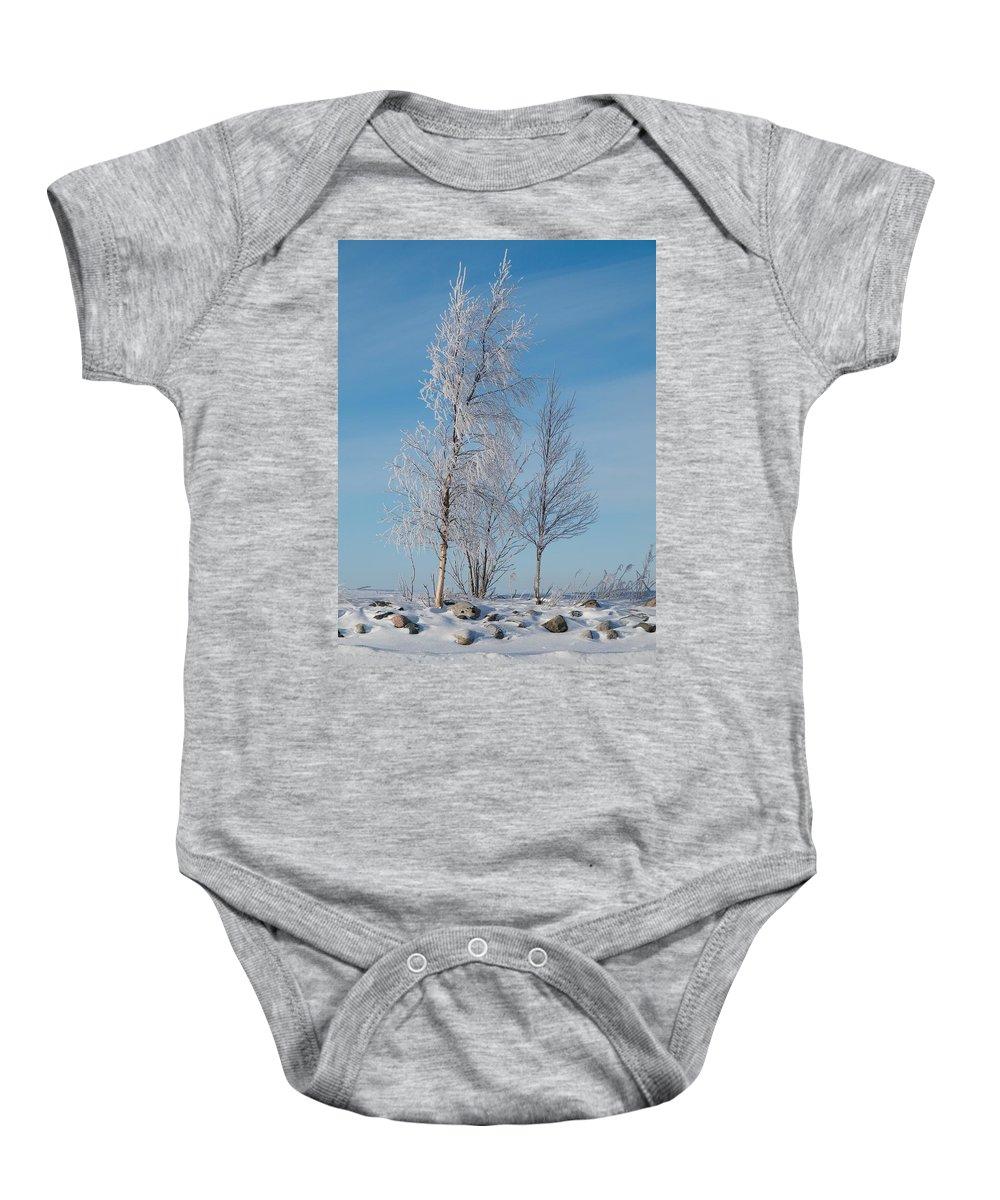Talvi Baby Onesie featuring the photograph Frozen Views 1 by Jouko Lehto