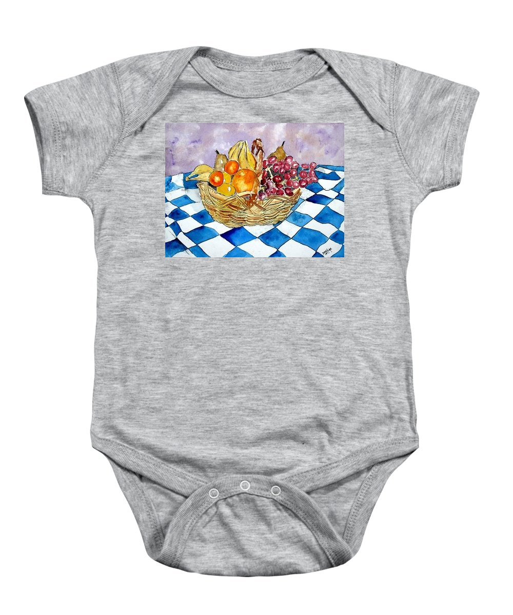 Fruit Basket Baby Onesie featuring the painting Fruit Basket Still Life 2 Painting by Derek Mccrea