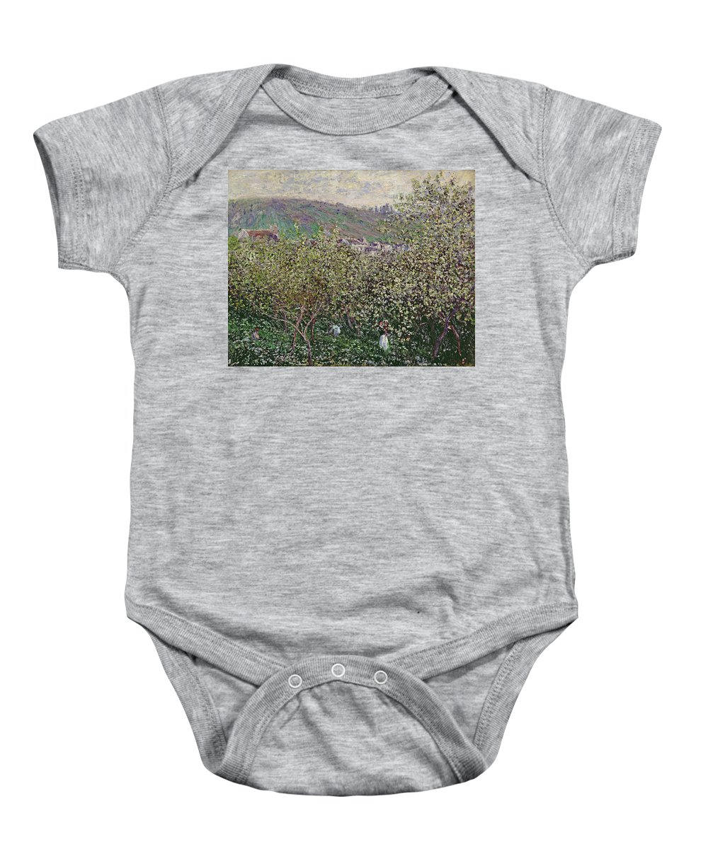 Fruit Pickers Baby Onesie featuring the painting Fruit Pickers by Claude Monet