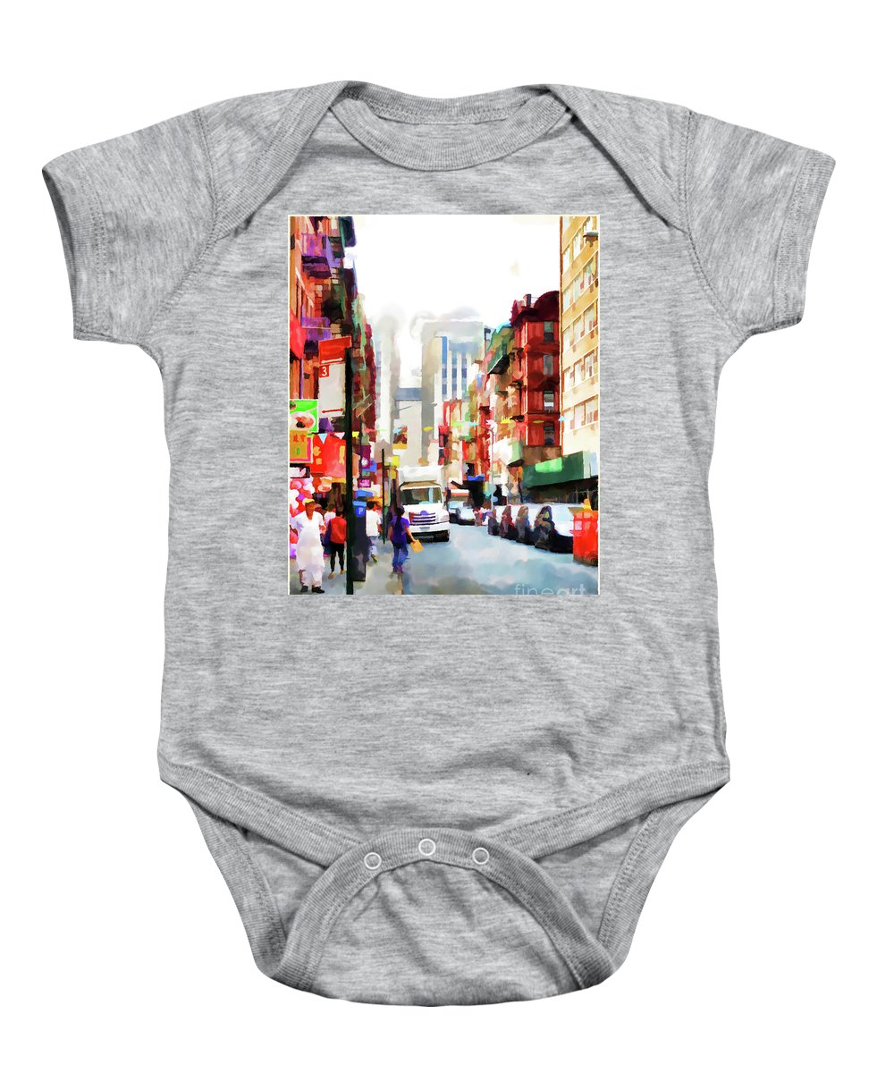 Fujianese-neighborhood Baby Onesie featuring the painting Fujianese Neighborhood by Jeelan Clark