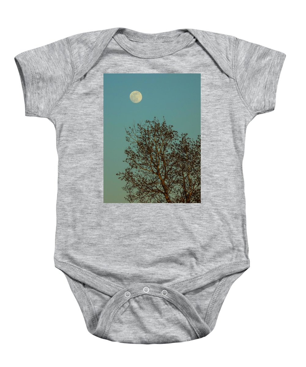Full Moon Baby Onesie featuring the photograph Full Moon At Sunset by William Tasker