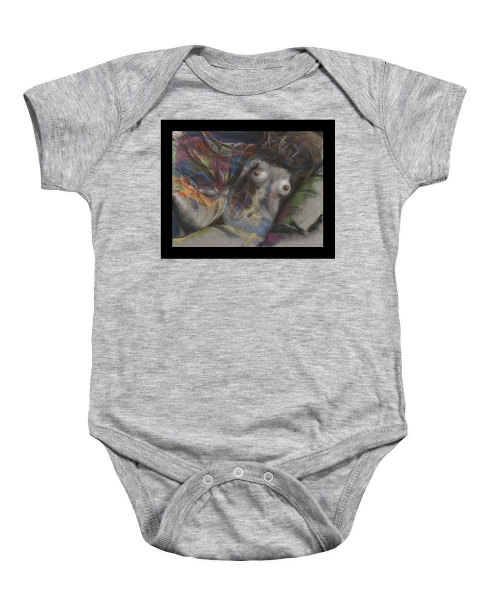 Drawing Baby Onesie featuring the drawing Fusion I by Gideon Cohn