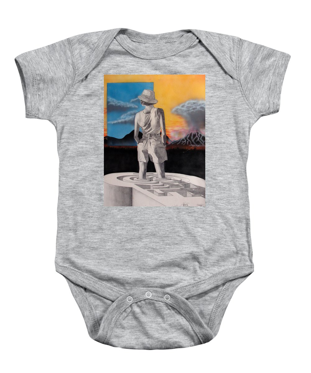Shaun Baby Onesie featuring the painting Future by Shaun McNicholas