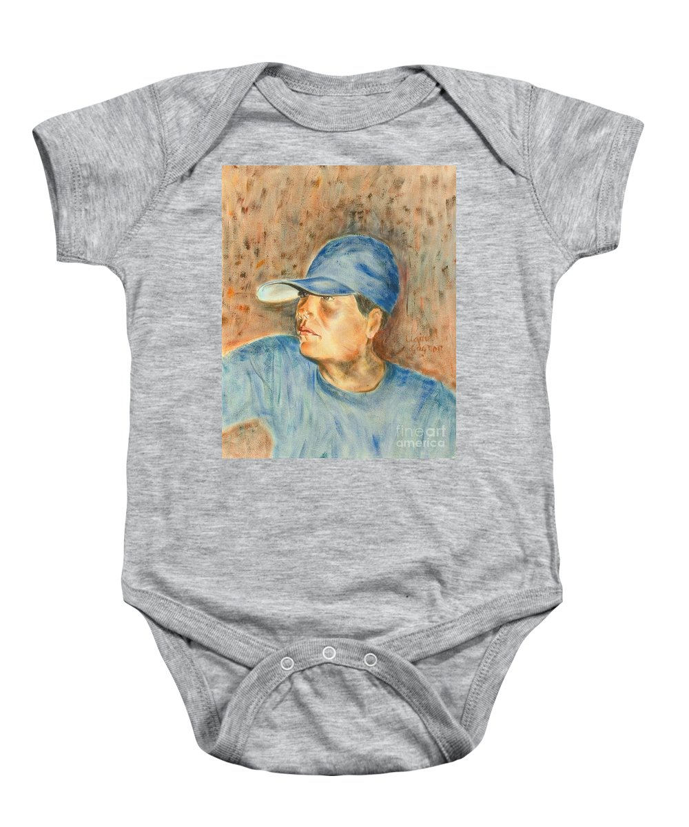 Boy Baby Onesie featuring the painting Gabe by Claire Gagnon