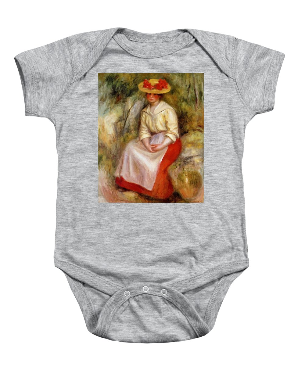 Gabrielle Baby Onesie featuring the painting Gabrielle In A Straw Hat 1900 by Renoir PierreAuguste