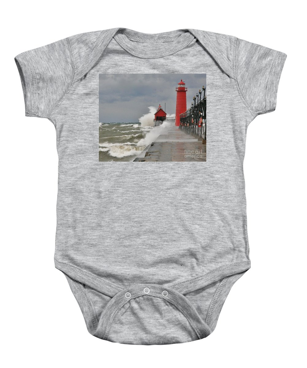 Light House Baby Onesie featuring the photograph Gale Warnings by Robert Pearson