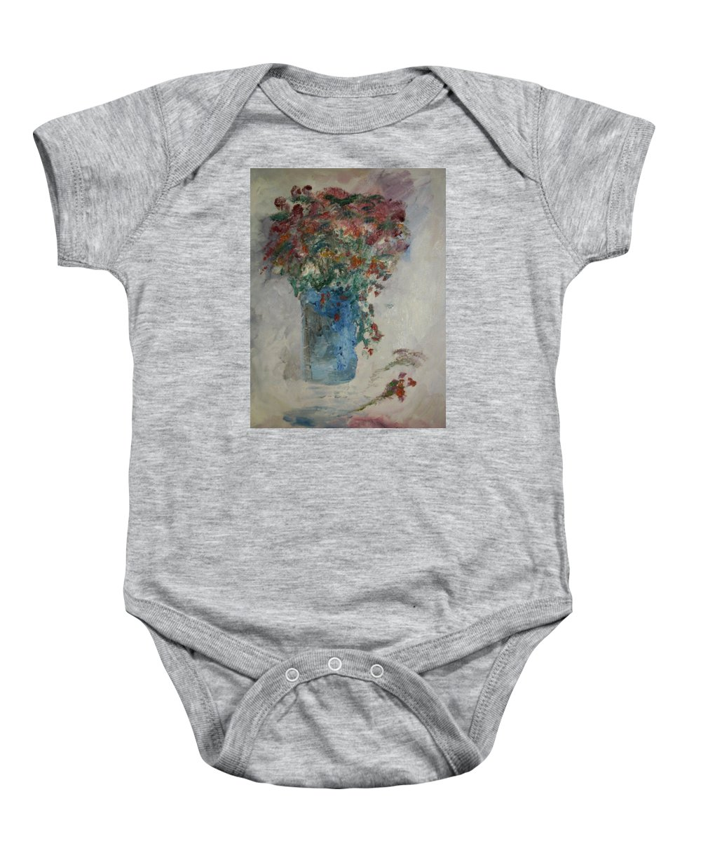 Still Life Baby Onesie featuring the painting Gallon Can Florals by Edward Wolverton